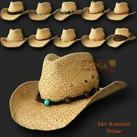 【oZtrALa】 Straw Cowboy HAT Outback Western Jacaru Mens Womens Australian Leather