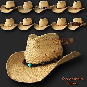 【oZtrALa】 Straw Cowboy HAT Outback Western Jacaru Mens Womens Australian Leather