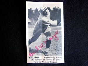 CARL MAYS 1920s New York Yankees Ace Pitcher Personally Signed Newspaper Article