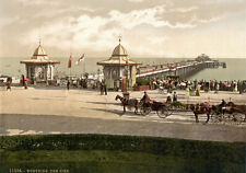 "PS33 Vintage 1890's Photochrom Photo - The Pier Worthing - Print A3 17""x12"""