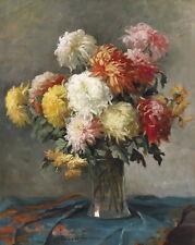 Huge art Oil painting still life flowers chrysanthemum mum in glass vase canvas
