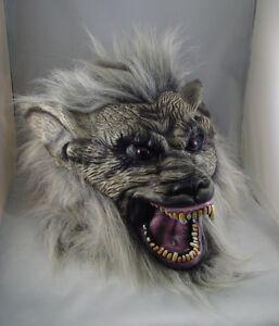 Gris Loup-Garou Masque Latex, Halloween, Déguisement, Effrayant Loup Chien