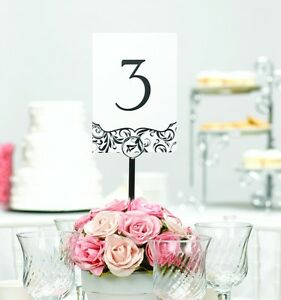 1-40 Black and White Flourish Wedding Table Number Cards