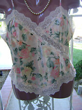 ~DELICATES PEACH FLORAL LACE-TRIMMED POLYESTER CAMI – M - NWOT~