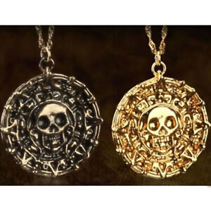 Pirates Of The Caribbean Cursed Aztec Gold Coin Necklace Medallion Pendant Gift