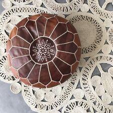pouf en cuir marocain vintage decoratif artisanal