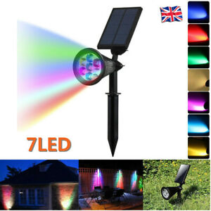 Solar 7 LED Spotlight Garden Yard Spike Lights Outdoor Ground Lamp Waterproof