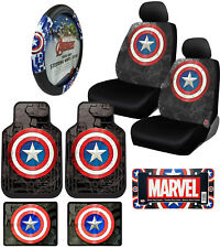 10pc Marvel Captain America Floor Mats Seat Covers Steering Wheel Cover Gift Set
