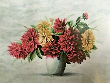 LARGE COUNTED CROSS STITCH KIT/FLOWERS/BOUQUET OF DAHLIAS/ZWEIGART 14 COUNT