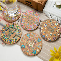 4Pcs Natural Drink Coasters Round Heat Insulation Cork Cup Mat Tabletop Decor