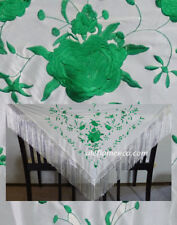 flamenco embroidered shawl / manton / scarf / piano off white green Medium