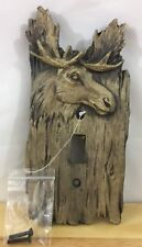 RUSTIC MOOSE LIGHT SWITCH COVER PLATE - FAUX WOOD- CABIN, LODGE, LOG CABIN Decor