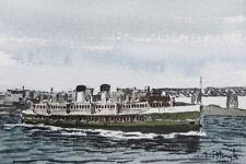 """ORIGINAL AQUARELL - Manly ferry """"North Head""""."""