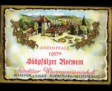 "ETIQUETTE ANCIENNE de VIN ""SUDPFALZER ROTWEIN / RHEINPFALZ"" de SCHWEIGEN en 1957"