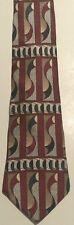 Monsieur Givenchy Burgundy Green Cream Black Abstract Tie Silk Wide Necktie