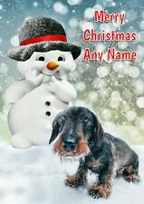 Personalised Dachshund & Snowman Christmas Card + blank textured white insert