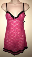 "APT.9 Womens 2-Piece Valerie's Lace Babydoll Lingerie Set""SEXY PINK""/BLACK S NWT"