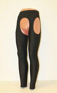 Bilelika 506-56 Black Spandex Men Leggings Hole on Side & in Crotch Size L
