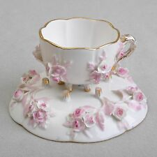 Meissen plástica flores, rosa, taza de espresso/mokkatasse con ut, knaufzeit