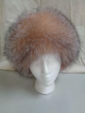BRAND NEW NATURAL CRYSTAL FOX FUR PILLBOX HAT CAP WOMEN WOMAN SIZE ALL