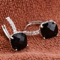 Women Fashion 925 Sterling Silver Black Sapphire stud Hoop Earrings Jewelry New