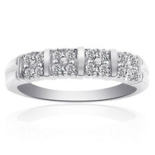 0.30 Carat Diamond Round Cut Multi-Row Ring14K White Gold