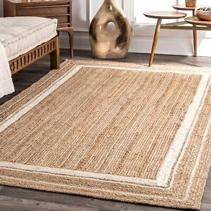 4x6 feet square indian braided natural jute rugs floor decor rugs bedside rugs