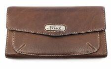 FOSSIL Dark Brown Pedaled Leather Envelope Clutch Wallet SL9943