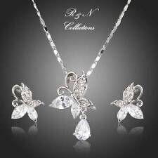 Platinum Plated Butterfly Swiss Cubic Zirconia Necklace & Earrings Set S424-26