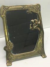 Vintage Art Nouveau Brass Vanity Mirror Figural Woman & Tree Art Deco Hollywood