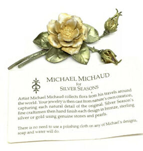 """Yellow Rose By Michael Michaud For Silver Seasons 3.5"""" Brooch Pin"""