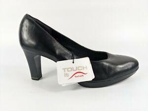 Tamaris Black Leather Court Shoes Uk 5 Eu 38 New