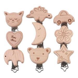 Natürlich Holz Cartoon Schnuller Clip DIY Baby molaren Beißring Kette Spielzeug