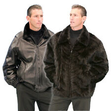 Mens Real Mink Fur Jacket Reversible to Genuine Leather Jacket Zippered