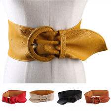 Wide Leather Belt PU Leather Corset Belts Pin Buckle Decorative Girdle Waistband