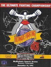Ken Shamrock Royce Gracie Pat Smith +2 Signed Replica UFC 1 Program PSA/DNA COA