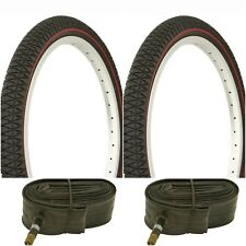 """Two BLACK RED LINE 20x1.95"""" BIKE BICYCLE TRAILER JOGGER TIRES & TUBES BMX"""