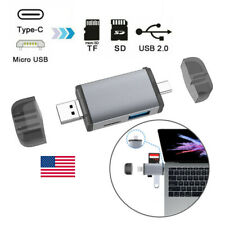 1/2x 6 in 1 Type C/Micro USB OTG to USB 2.0/TF/SD Memory Card Reader For Laptop