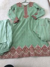 New Pakistani Designer Boutique Embroidered 3 Pc S-m Fully Lined Shalwar Kamiz