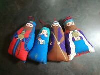 Vintage Hand Made Quilt Style Pillow Christmas Ornaments Wise Men Mary large