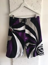 Vintage Billabong White Purple Swimming Shorts Size W34 Designer Long Abstract