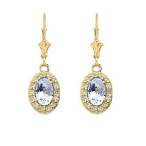 Solid 10k 14k Yellow Gold Diamond And Aquamarine Oval  Leverback Earrings Set