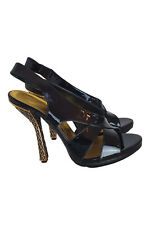 BALENCIAGA Black Patent Leather Green and Gold Enamel Heels (EU 40)