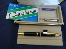 Unused Vintage Pilot Capless Namiki Medium Black Gold Trim Fountain Pen