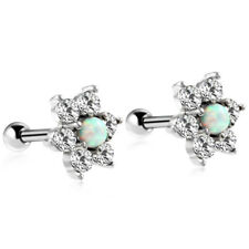 1PC Fire Opal Earring Barbell CZ Earring Stud Steel Tragus Ear Piercing Jewelry