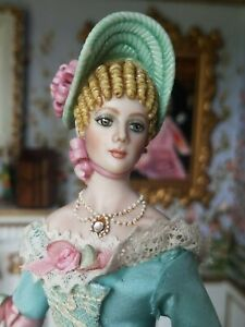 OOAK Porcelain Artist Doll by Sally Cutts costume by Susan Sirkis Molded Hair #1