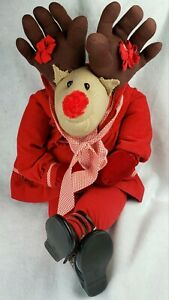 "Christmas Reindeer Plush/Toy Stuffed Fabric Handmade Red/Brown 28"" Holiday Large"