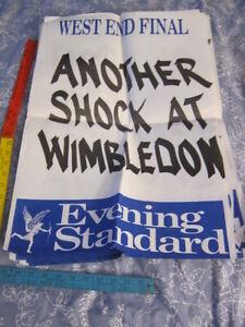 90s London UK EVENING STANDARD News Stand BILLBOARD POSTER: Wimbledon UPSET