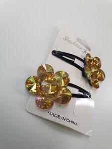 Hair Clips Flower 2 Pk Snap Clips Girls Gold Shimmer