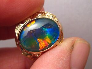 Large 14 k yellow Gold  Men's opal Triplet Ring  SIZE  8  1/2   No Resize